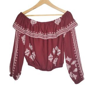 4/$25 Charlotte Russe Boho Off Shoulder Crop
